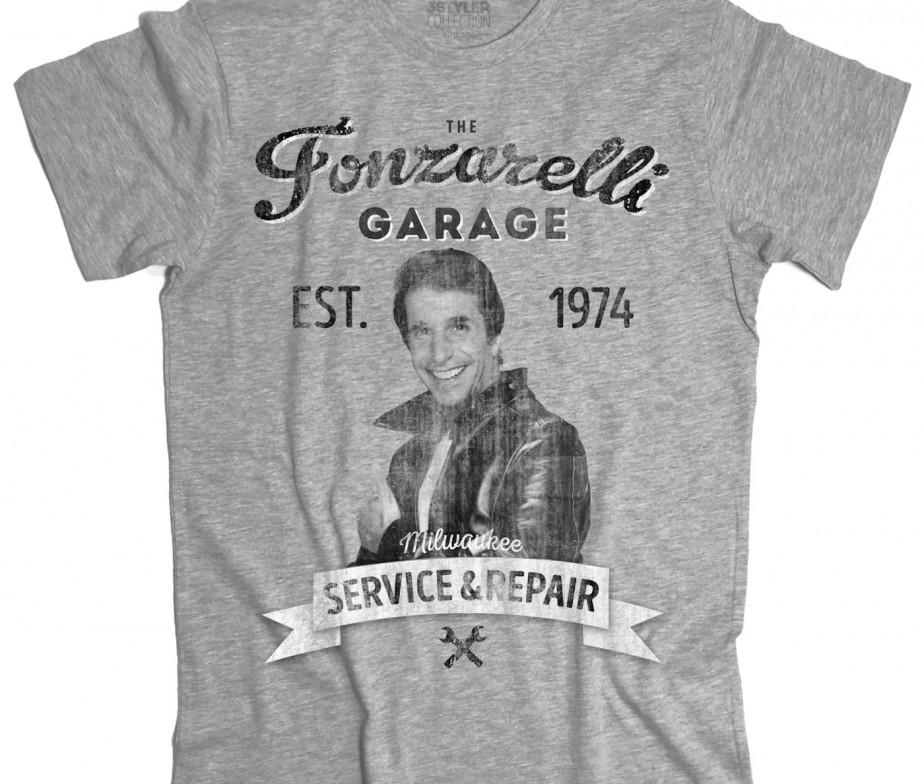 Felpa uomo Fonzie Garage Fonzarelli ispirata a Happy Days telefilm anni 70 Fonz