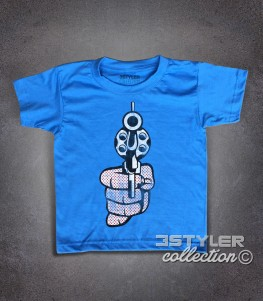 Roy Lichtenstein gun t-shirt bambino raffigurante una pistola in stile pop art