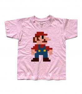 super mario t-shirt bambino raffigurante super mario nella sua prima versione tutta fatta di pixel