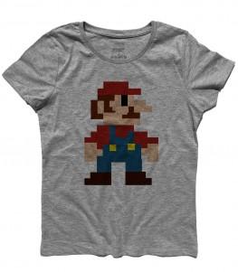 super mario t-shirt donna raffigurante super mario nella sua prima versione tutta fatta di pixel