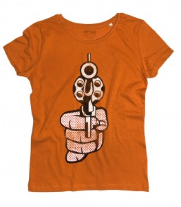Roy Lichtenstein gun t-shirt donna raffigurante una pistola in stile pop art