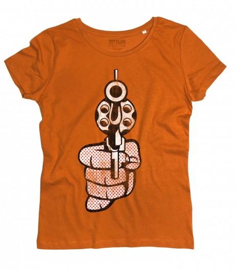 Roy Lichtenstein gun t-shirt donna raffigurante una pistola in stile pop art