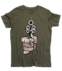 Roy Lichtenstein gun t-shirt uomo raffigurante una pistola in stile pop art