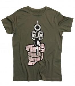 Roy Lichtenstein gun t-shirt uomo raffigurante una pistola in stile pop art