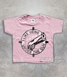 under the gun t-shirt bambino raffigurante una pistola e un mirino