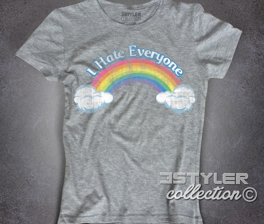 ... I hate everyone t-shirt donna ispirata al cartone animato cult anni 80  dei Care ... 8d4ea9b993a6