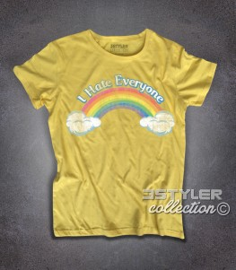 I hate everyone t-shirt donna ispirata al cartone animato cult anni 80 dei Care Bears