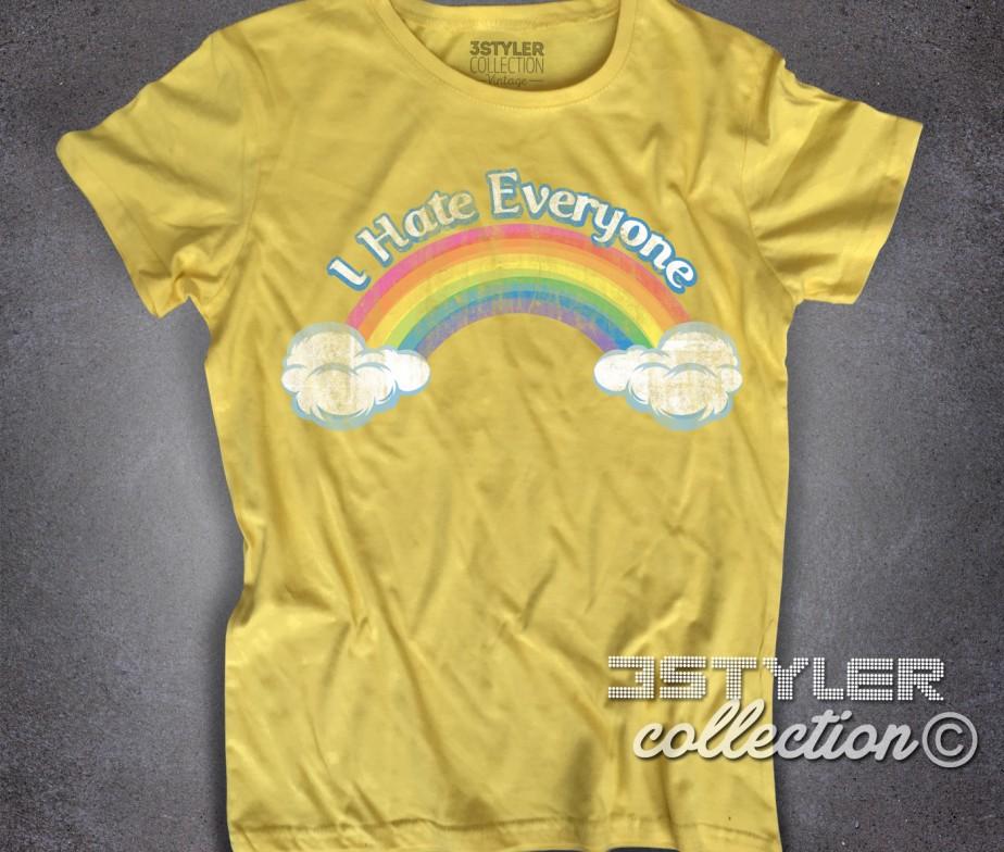I hate everyone t-shirt donna ispirata al cartone animato cult anni 80 dei  Care 9d885710aa74