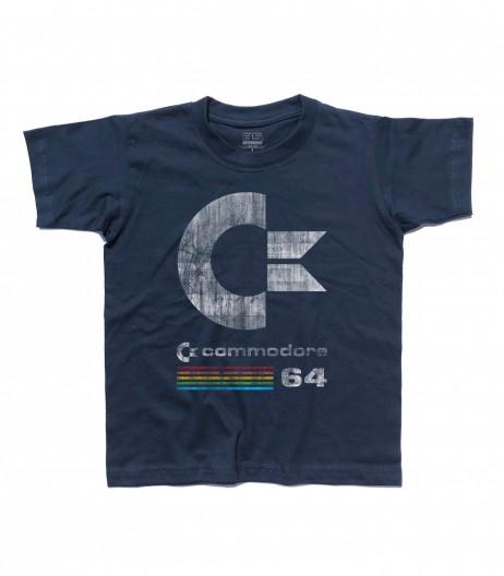 commodore 64 t-shirt bambino con logo antichizzato