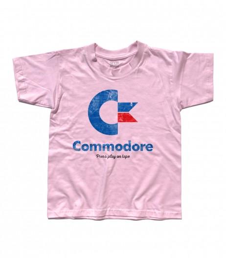 commodore 64 t-shirt bambino con logo e scritta Press play on tape
