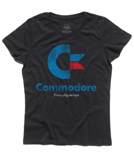 commodore 64 t-shirt donna con logo e scritta Press play on tape