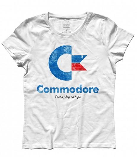 ommodore 64 t-shirt donna con logo e scritta Press play on tape
