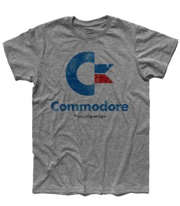commodore 64 t-shirt uomo con logo e scritta Press play on tape
