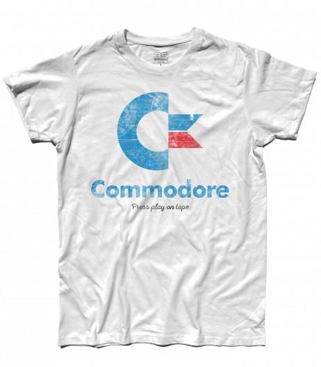 commodore 64 t-shirt uomo con logo e scritta Press play on tape