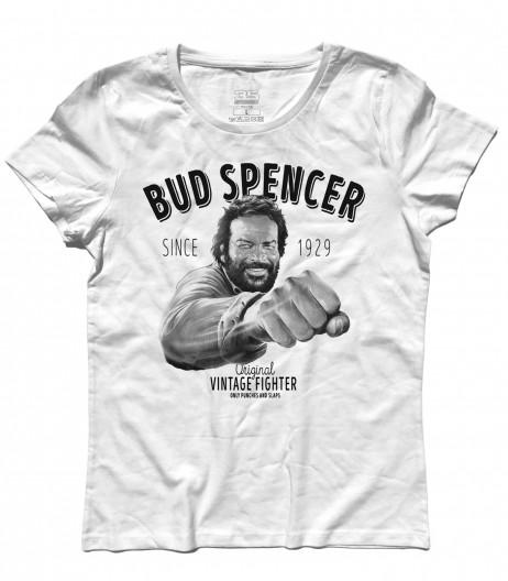 Bud spencer t-shirt donna raffigurante l'attore mentre da un pugno e la scritta vintage fighter