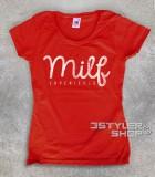 milf t-shirt donna con scritta antichizzata Milf experience