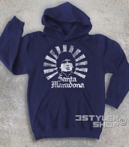 """Santa Maradona felpa bimbo l'immagine stilizzata di Maradona in versione """"santo"""" con tanto di aureola e scritta Santa Maradona"""