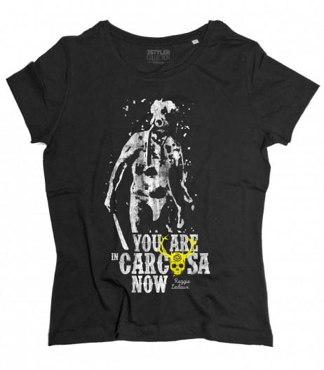 Reggie Ledoux t-shirt donna ispirata alla serie true detective e scritta you are in carcosa