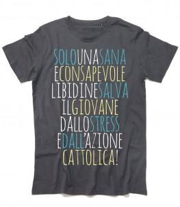 """Zucchero t-shirt uomo con parte del testo di una sua canzone """"Solo una sana e consapevole libidine"""""""
