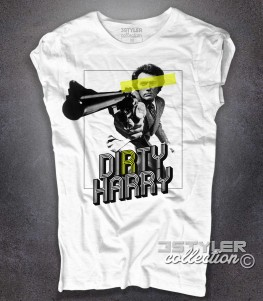 Ispettore Callaghan t-shirt donna bianca con scritta Dirty Harry