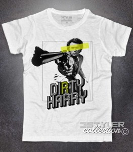 Ispettore Callaghan t-shirt uomo bianca con scritta Dirty Harry