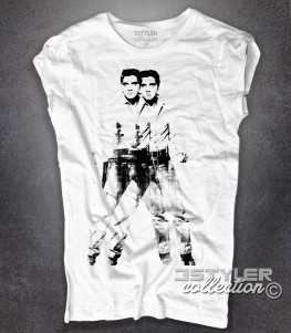 double Elvis t-shirt donna bianca ispirata all'opera pop di Andy Warhol