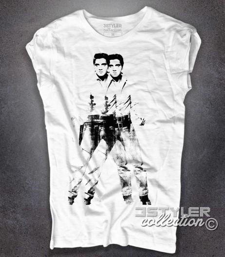 double Elvis t-shirt donna bianca ispirata all'opera pop di Andy Warhol