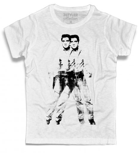 double Elvis t-shirt uomo bianca ispirata all'opera pop di Andy Warhol