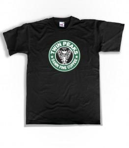 twin peaks t-shirt uomo ispirata al logo di starbucks e alla serie cult