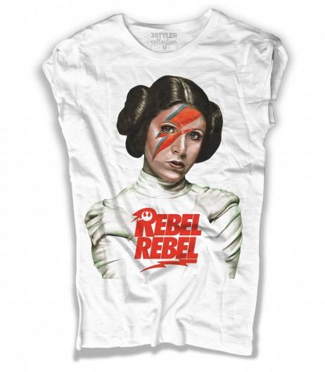 Principessa Leia t-shirt donna ispiarata alla canzone Rebel Rebel in versione Star Wars