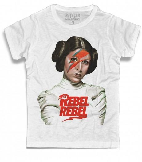 Principessa Leia t-shirt uomo ispiarata alla canzone Rebel Rebel in versione Star Wars