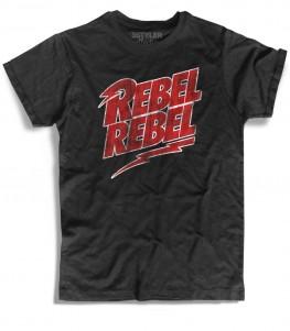 rebel rebel t-shirt nera ispirata alla canzone di david bowie