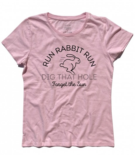 breathe t-shirt donna ispirata ai pink floyd con scritta Run Rabbit Run