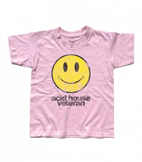 acid house t-shirt bambino con smile antichizzato