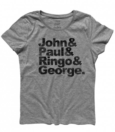 beatles t-shirt donna coi loro nomi: John, Paul, Ringo e George