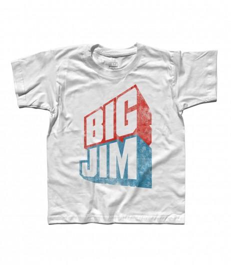 big jim t-shirt bambino raffigurante il logo in versione vintage