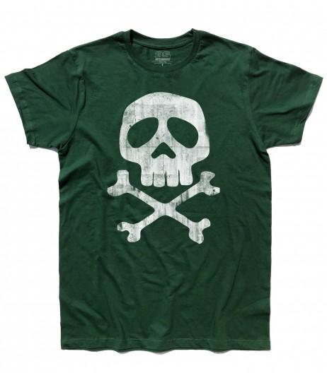 Capitan Harlock t-shirt uomo raffigurante il teschio del suo costume antichizzato