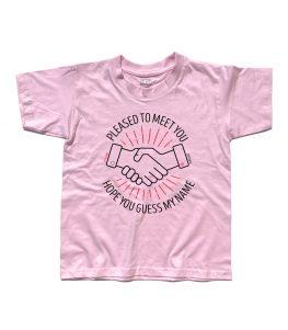 T-shirt bambino rosaispirata alla canzone Sympathy for the Devil dei Rolling Stones.