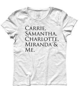 "Sex and the City t-shirt donna con scritta ""Carrie, Samantha,Charlotte, Miranda and Me"""