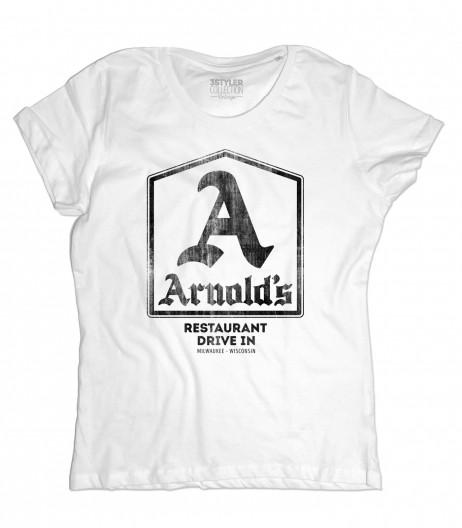 Arnold's t-shirt donna ispirata al drive-in dove si riunivano i protagonisti di Happy Days