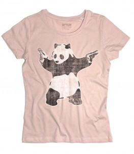 panda pistole t-shirt donna raffigurante l'opera panda with guns di banksy