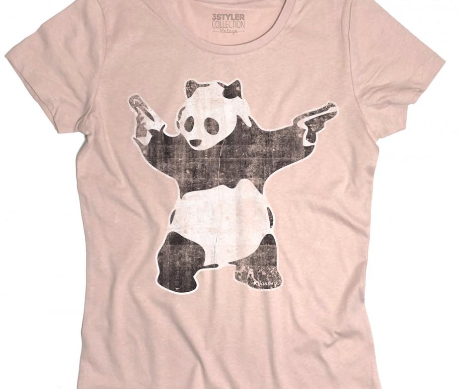 Panda pistole t shirt donna panda with guns banksy