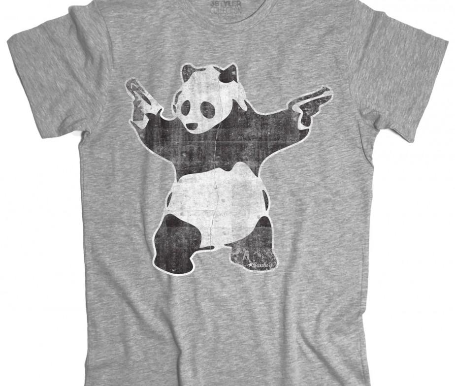 Panda pistole t shirt uomo panda with guns banksy
