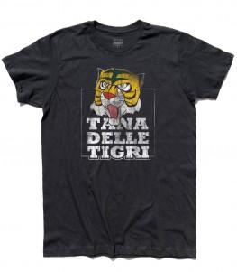 """uomo tigre t-shirt uomo raffigurante la maschera dell'uomo tigre e la scritta """"tana delle tigri"""""""