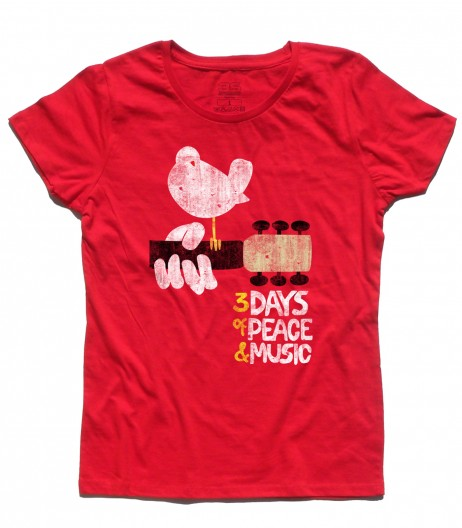 woodstock concerto t-shirt donna peace love music
