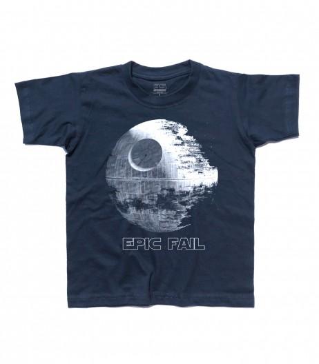 morte nera t-shirt bambino raffigurante la stazione spaziale dell'imperatore di guerre stellari