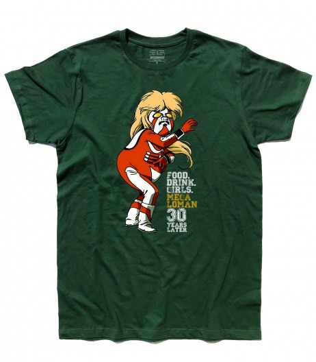megalomen t-shirt uomo raffigurante il supereroe invecchiato ed ingrassato
