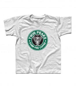 twin peaks t-shirt bambino ispirata al logo di starbucks e alla serie cult