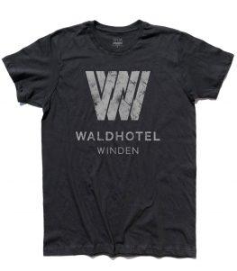 dark t-shirt uomo raffigurante il logo del Waldhotel