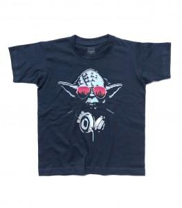 yoda dj t-shirt bambino raffigurante il maestro jedi con le cuffie da dj